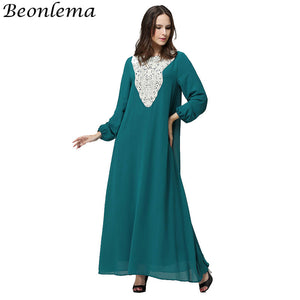 Slik Kaftan Moroccan Muslim Dress Long Sleeves Islamic Jurken Lace Maxi Dresses Women Abaya Robe Musulmane Longue