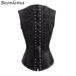 Steampunk Corset Waist Slim Korse Vest Gothic Tight Lacing Red Bustiers Overbust Women Body Shaper Bodice Clothes