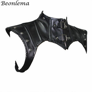 Steampunk Neck Corset Accessories Black Gothic Tops Shapewear Shawl Women Retro Corselet Leather Rivets Corsets