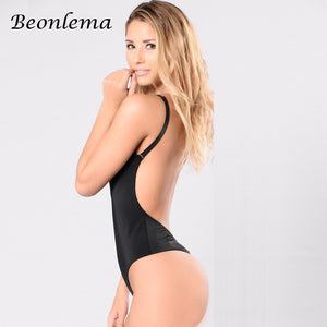 Beonlema Women Body Bodysuits Black Backless Push Up Bra Gothic Bodysuit Mujer Adjustable Rompers Tight Dance Tops