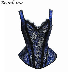 Women Bustiers Top Corset Punk Goth Party Overbust Lace Lingerie Steampunk Blue Waist Corset Retro Clubwear