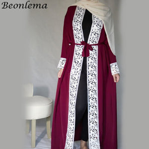 Beonlema Women Muslim Open Rode Black Open Abaya Turkish Long Lace Tunic Kaftan Ladies Musulam Clothing Plus Size Caftan