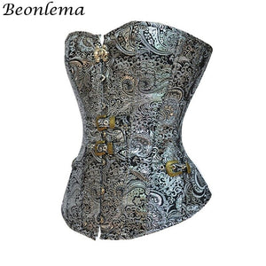 Women Overbust Punk Corset Silver Steampunk Retro Bustiers Korse Body Modeling Corsage Mujer Vintage Top S2Xl