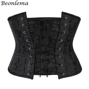 Women Steel Bone Waist Cincher Corset Waist Slimming Underbust Fajas Steampunk Accessories Femme Xs3Xl Black Bustier