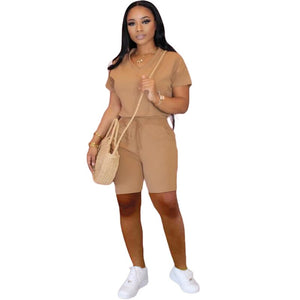 Biker Shorts 2 Piece Set Women Summer Clothes Sweat Suit Crop Top Shorts Tracksuits Two Piece Outfits Matching Sets