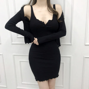 Black Sexy Cardigan Dress 2 Two Piece Set Women Plus Size Luxury Sleeveless Dress Set Club Outfit Spring Summer Vintage Suit Set