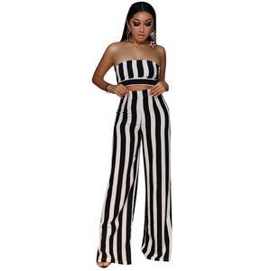 Black Striped Sexy Two Piece Set Summer Women Strapless Crop Top Wide Leg Pant Suit Clubwear Party 2 Piece Outfits