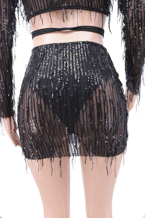 Bodycon Sequin Two Piece Set Women Sexy Club Outfits Tassel Crop Top Mini Skirt Set Party 2 Piece Set Women 2020