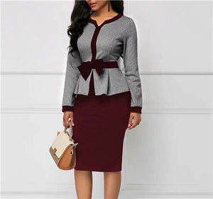 Bodycon Women Vintage Dress Suit Sheath Long Sleeve Bowknot Retro Office Lady Formal Work Business Wear Party Dresses Autumn