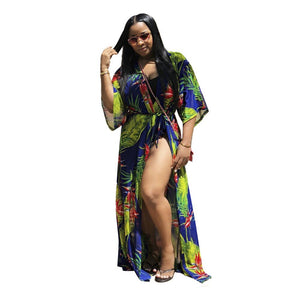 Bohemian Summer Beach Women Set Tracksuit Fashion Sexy Print Playsuit+ Cloak Coat Two Pieces Suits Vacation Casual Outfits Q059