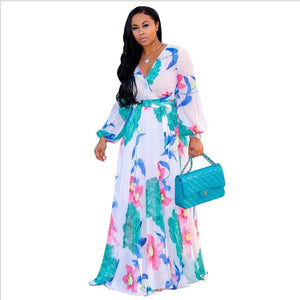 Boho Printed Chiffon Long Dresses Women V Neck Long Sleeve Belted Evening Party Dress Loose Vintage Beach Summer Maxi Dress