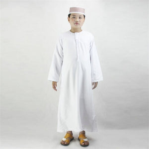 Boys Islamic Clothing Kids Muslim Abaya Arab Dubai Turkey Malaysia Round Neck Prayer Islam Robes Toddler Boy Thobe