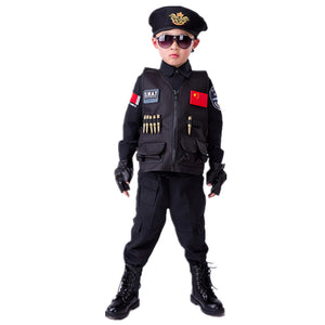 Boys Police Kids Uniform Children Cosplay Policemen Costumes Special Army Military Uniform Kindergarten Performance Clothing Set