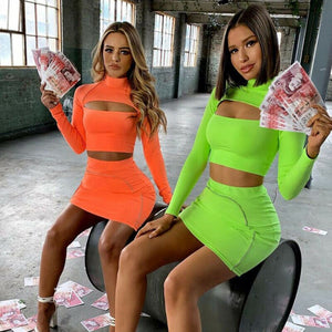 Sexy Women Sexy Bodycon Two Pieces Hollow Long Sleeve Turtleneck Crop Top+ Mini Skirts Set Ladies Sexy Party Club Wear