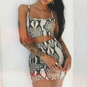 Women Sexy Sleeveless Snakeskin Print Crop Bodycon Mini Skirt Set Fashion Sexy Club Party Outfits Women Set