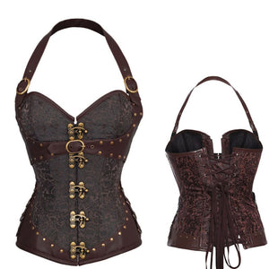 Brown Steampunk Corset Gothic Clothing Pu Leather Buckle Corsets Bustiers Slimming Sheath Belly