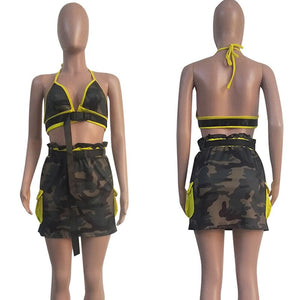 Camo Sexy 2 Piece Set Women Club Outfits 2020 Backless Halter Crop Top Mini Skirt Set Two Piece Summer Matching Sets Sashes