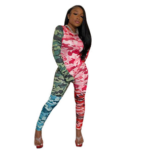 Camouflage Patchwork Tracksuit Women Spring Two Piece Set Long Sleeve Crop Top Pants Set Casual Sweat Suits Matching Sets