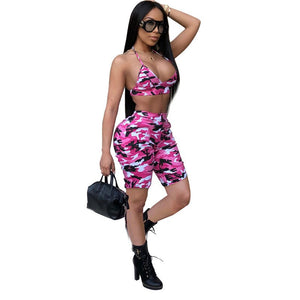 Camouflage Print Women Suits Two Piece Set Sexy Sleeveless Halter Crop Top Bra Short Set 2 Piece Outfits Summer Fitness Sets