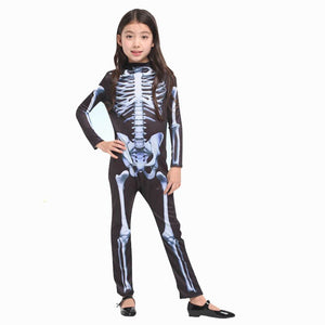 Carnival Halloween Horror Skeleton Costumes Kids Boys Adult Men Children Party Anime Fancy Dress Demon Purim Jumpsuit