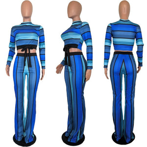 Casual 2 Piece Pants Sets Women Two Piece Outfits Tracksuit Striped Long Sleeve Crop Top Pants Set Women Sexy Matching Sets