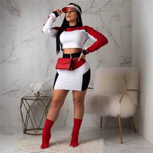 Casual 2 Piece Set Women Tracksuit 2020 Patchwork Crop Top Zipper Bodycon Mini Skirt Set Party Club Sexy Two Piece Outfits