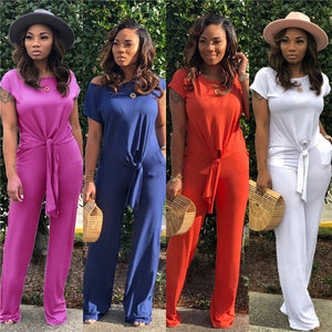 Casual Fashion Two Piece Set Summer Women Crop Top Full Length Pants Knitted Lounge Wear Matching Sets Outfits