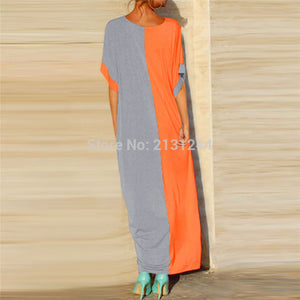 Casual Maxi Dress Short Sleeve Summer Robe Abaya Tunic Muslim Kimono Loose Style Jubah Ramadan Middle East Arab Islamic Clothing