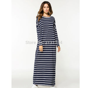 Casual Maxi Dress Stripe Cotton Middle East Abaya Shirt Loose Style Muslim Robe Moroccan Burka Kimono Kaftan Islamic Arab Dubai