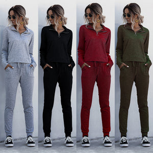 Casual Sweatsuits Pants 2020 Spring Summer Solid Color Collar Zipper Two Piece Set Tracksuits Women Sets Clothes Top