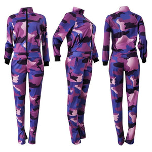 Casual Two Piece Pants Set Women Tracksuit Hoodie Sportswear Women Sweat Suit Set Camo Crop Top 2 Piece Outfits Set