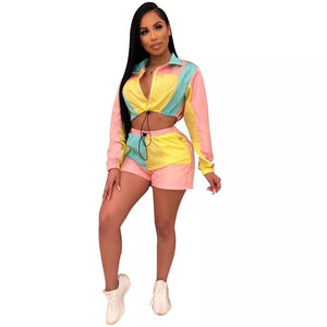 Casual Two Piece Set Tracksuit Women Summer 2 Piece Crop Top Short Set Sweat Suits Sexy Club Outfits Sportwear Women Set