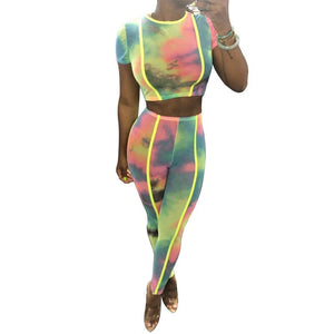 Casual Two Piece Set Tracksuit Women Summer Crop Top T Shirt Pants Tie Dye Printed 2 Piece Bodycon Set Ladies Sweat Suits