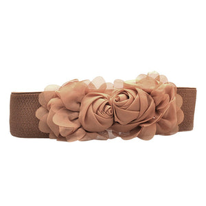 Fashion Elastic Waistband Chiffon Roses Solid Belts A1