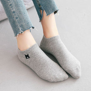 Women Cotton Socks Creative Funny Socks Embroidery Cat Socks A1