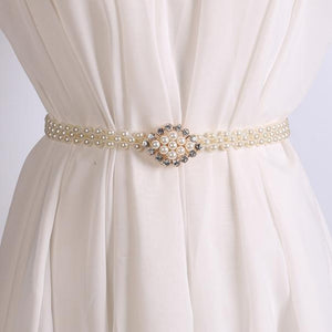Women'S Lady Fashion Metal Chain Pearl Style Belt Body Chain Designer A2#