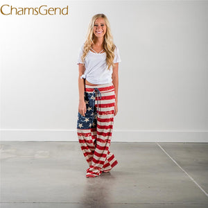 Floral American Flag Drawstring Plus Size Academy Pants Women Wide Leg Leggings Casual Pants Tops A#487