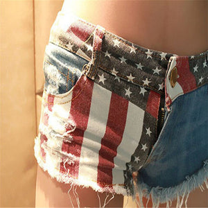 Shocking Show 1Pc American Flag Mini Shorts Jeans Denim Low Waist A#487