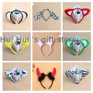 Children Adult Cosplay Animal Ear Headband Bee Shrek Bear Cow Zebra Mouse Monkey Frog Tiger Leopard Frog Birthday Party Hairband