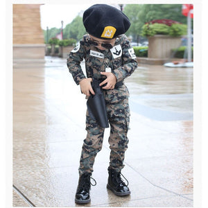 Children'S Camouflage Training Clothing Set Military Uniform Teenager Boys Combat Jackets Army Suit Halloween Cosplay Costumes
