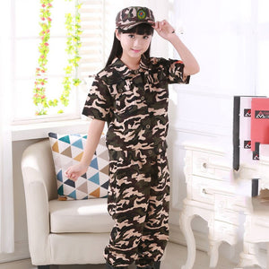 Children'S Clothing Set Jacket+Terousers+Cap+Belt Halloween Military Uniform Teenager Boys Combat Shirt Army Suit