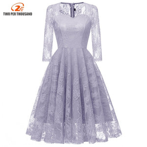 Christmas Autumn Office Lace Dress Women 34 Sleeve Vintage Swing Lace Wedding Party Dresses Festa Vestidos Robe Femme