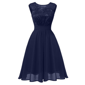 Christmas Autumn Summer Dress Women Hollow Out Lace Dress Casual Sleeveles Ball Gown Party Dresses Vestidos