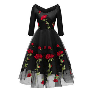 Christmas Rose Embroidery Vintage Dress Slash Neck 34 Sleeves Wrap High Waist Swing Dress 60S Retro Black Mesh Party Vestidos
