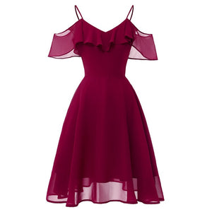 Christmas Spaghetti Strap Off Shoulder Summer Dress Women Ruffle Backless Chiffon Casual Pink Midi Dresses Vestidos