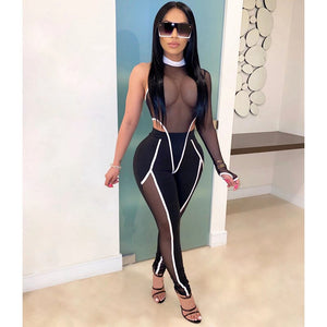 Club Sexy Two Piece Set Women Festival Clothing Bodysuit Top Pants Set Suit Party Matching Set Mesh 2 Piece Set Women Outfits
