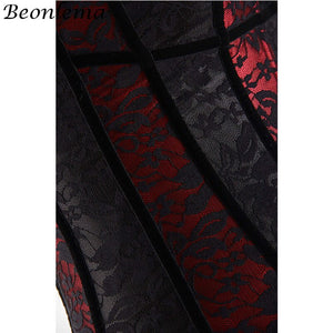 Corsets Bustiers Overbust Black Red Lace Up Women Bone Lingerie Corsage Corselet Chest Binder