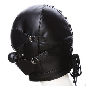 Couple Sex Mask Fetish Leather Mouth Eye Slave Hood Ball Gag Erotic Product Toy Bondage Black Men Women Sex Accessories