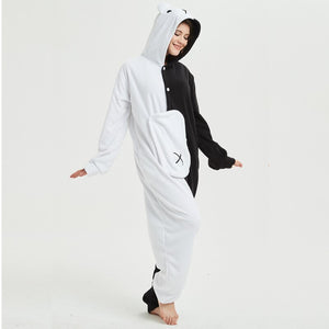Cute Cartoon Animal Monokuma Long Sleeve Hooded Onesie Animal Pajamas Warm Kigurumi Bear Women Men Homewear Onesies Adults