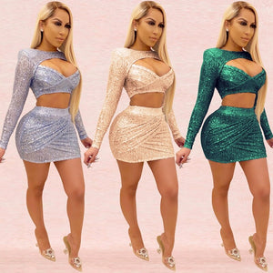 Cute Sexy Two Piece Outfits Summer Mini Skirt Top Set Matching Sets Club Party Sequin High Waist 2 Piece Skirt Set